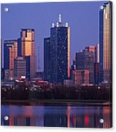 Dallas Skyline Reflected In Pond At Dusk Acrylic Print by Jeremy Woodhouse