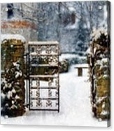 Decorative Iron Gate In Winter Acrylic Print