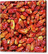 Dried Chili Peppers Acrylic Print by Carlos Caetano