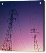 Electricity Transmission Lines At Sunset Acrylic Print