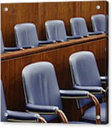 Empty Jury Seats In Courtroom Acrylic Print