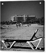 Empty Sun Lounger On Cyprus Tourist Organisation Municipal Beach In Larnaca Bay Republic Of Cyprus Acrylic Print