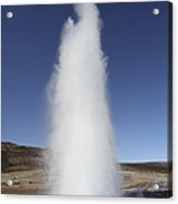 Eruption Of Strokkur Geysir, Iceland Acrylic Print