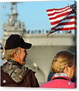 Family Members Wave Flags To Show Acrylic Print