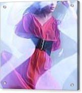 Fashion Photo Of A Woman In Shining Blue Settings Wearing A Red  Acrylic Print