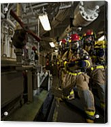 Firemen Combat A Simulated Fire Aboard Acrylic Print