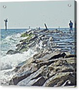 Fishing The Jetty - Island Beach State Park   Nj Acrylic Print