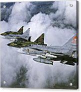 Four Saab 37 Viggen Fighters Acrylic Print