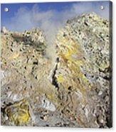 Fumaroles With Sulphur Deposits. Flank Acrylic Print