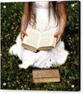 Girl Is Reading A Book Acrylic Print