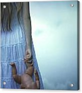 Girl With Baby Doll Acrylic Print