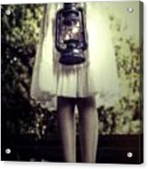 Girl With Oil Lamp Acrylic Print