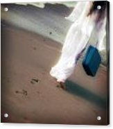 Girl With Suitcase Acrylic Print by Joana Kruse