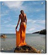 Girl With The Orange Veil Acrylic Print