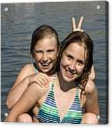 Girls Playing In The Water At The Beach Acrylic Print