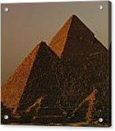 Giza Pyramids From Left Kings Menkure Acrylic Print by Kenneth Garrett