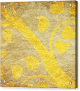 Golden Tree Pattern On Paper Acrylic Print