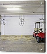 Golf Cart Parking Garage Acrylic Print by Skip Nall