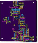 Great Britain Uk County Text Map Acrylic Print