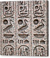 Hieroglyphs On Ancient Carving Acrylic Print by Jane Rix