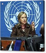 Hillary Clinton Speaking To The Press Acrylic Print