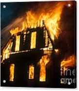 House On Fire Acrylic Print by Photo Researchers, Inc.