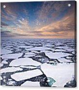 Ice Floes At Sunset Near Mertz Glacier Acrylic Print