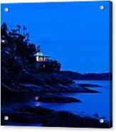 Illuminated Cabin In The Dark At The Seaside Acrylic Print