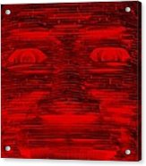 In Your Face In Negative Red Acrylic Print