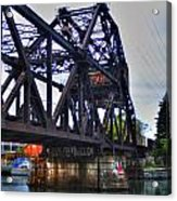 Jack-knife Bridge At Erie Canal Harbor Acrylic Print
