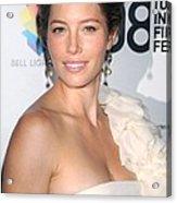 Jessica Biel Wearing A Giambattista Acrylic Print