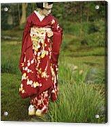 Kimono-clad Geisha In A Park Acrylic Print by Justin Guariglia