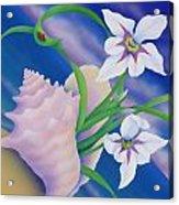 Ladybug And Iris Acrylic Print