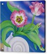 Ladybug And Tulips Acrylic Print