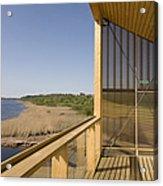 Lakeside Building And Dock Acrylic Print