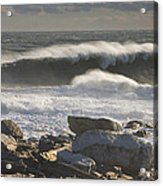 Large Waves Near Pemaquid Point On The Coast Of Maine Acrylic Print
