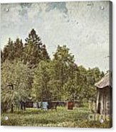 Laundry Drying On Clothesline On A Summer Day Acrylic Print by Sandra Cunningham