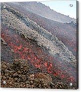 Lava Flow During Eruption Of Mount Etna Acrylic Print