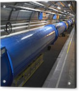 Lhc Tunnel, Cern Acrylic Print by David Parker