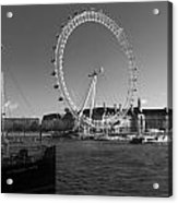 London Skyline Edf Eye Bw Acrylic Print