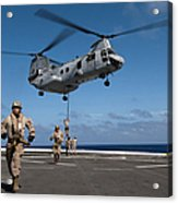 Marines Fast Rope On To The Flight Deck Acrylic Print