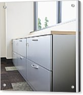Metal Drawers And Shelf Acrylic Print by Jetta Productions, Inc
