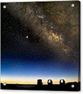 Milky Way And Observatories, Hawaii Acrylic Print