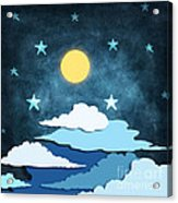 Moon And Stars Acrylic Print