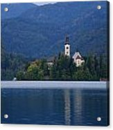 Moon Setting At Sunrise Over Island Church At Lake Bled Acrylic Print