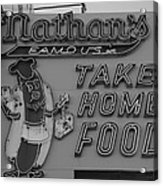 Nathan's Famous In Black And White Acrylic Print