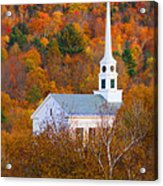New England Church In Autumn Acrylic Print