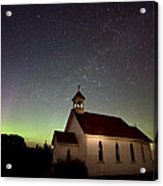 Night Church Northern Lights Acrylic Print