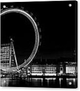 Night Image Of The London Eye And River Thames  Acrylic Print