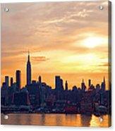 Ny Skyline Sunrise Gold Acrylic Print